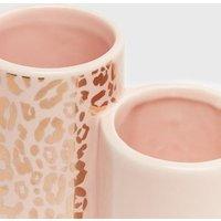 Pale Pink Leopard Print Metallic Double Pen Pot New Look
