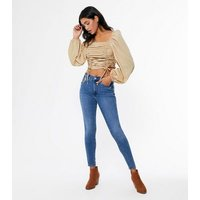 Urban Bliss Stone Ruched Puff Sleeve Top New Look