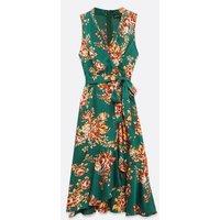 Mela Green Satin Floral Midi Wrap Dress New Look