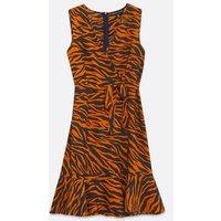 Mela Rust Zebra Print Ruffle Hem Wrap Dress New Look