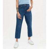 Petite Blue Mid Wash Waist Enhance Tori Mom Jeans New Look