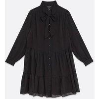 Curves Black Spot Chiffon Bow Neck Smock Dress New Look