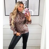 AX Paris Burgundy Leopard Print Satin Blouse New Look