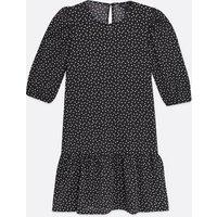 Black Spot Drop Hem Mini Dress New Look