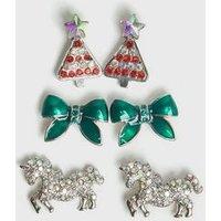 Girls 3 Pack Multicoloured Christmas Stud Earrings New Look