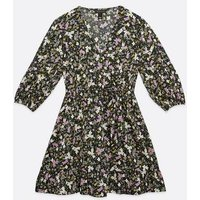 Black Floral Ruffle Hem Wrap Mini Dress New Look