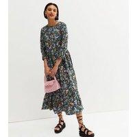 Urban Bliss Black Floral Midi Smock Dress New Look
