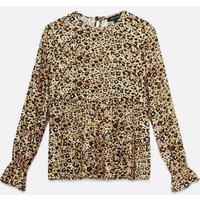 Brown Leopard Print Tiered Long Sleeve Top New Look