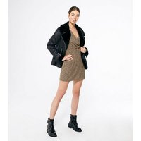 Urban Bliss Light Brown Animal Print Puff Sleeve Dress New Look
