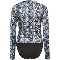 Black Snake Print Ruched Long Sleeve Bodysuit New Look