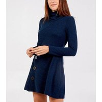 Blue Vanilla Navy Fine Knit Cowl Neck Button Dress New Look