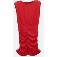 Red-Plain-Sleeveless-Shoulder-Pad-Ruched-Dress-New-Look