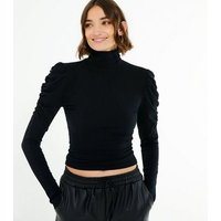 Black High Neck Puff Sleeve Ribbed Top New Look