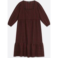 Curves Dark Red Check Midi Smock Dress New Look