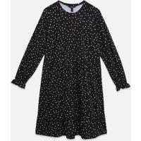 Curves Black Spot Soft Touch Mini Smock Dress New Look