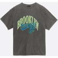 Dark Grey Brooklyn Logo T-Shirt New Look