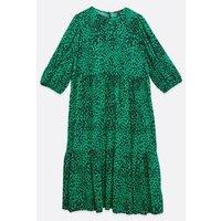 Curves Green Leopard Print Midi Smock Dress New Look