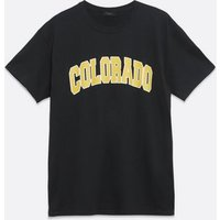 Mens Black Colorado Varsity Logo T-Shirt New Look