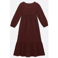 Maternity Dark Red Check Midi Smock Dress New Look