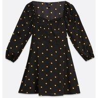 Petite Black Spot Sweetheart Neck Mini Dress New Look