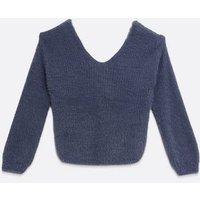 Girls Dark Grey Fluffy Knit Twist Back Jumper New Look