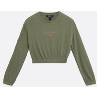 Girls Olive Ribbed Fine Knit Logo Top New Look