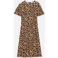 Maternity Brown Leopard Print Midi Dress New Look