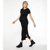 Maternity Black Jersey Side Split Belted Midi Dress New Look