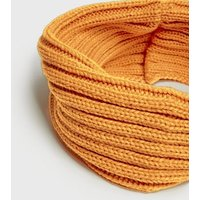 Girls Mustard Ribbed Knit Snood New Look