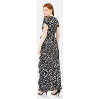 Mela Black Heart Print Wrap Maxi Dress New Look