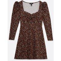 Petite Black Ditsy Floral Sweetheart Mini Dress New Look