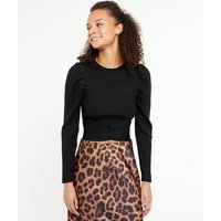 Cameo Rose Black Puff Sleeve Ribbed Jumper New Look