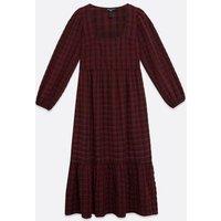 Tall Dark Red Check Midi Smock Dress New Look