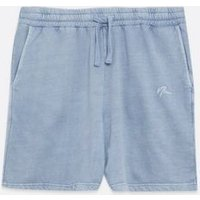 Men's Blue Washed Jersey Drawstring Shorts New Look