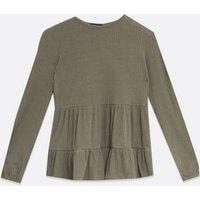 Khaki Ribbed Tiered Long Sleeve Top New Look