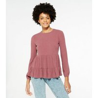 Mid Pink Ribbed Tiered Long Sleeve Top New Look