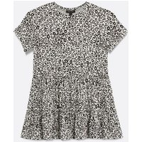 White Leopard Print Tiered Top New Look