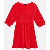 Red-Button-Front-V-Neck-Mini-Dress-New-Look