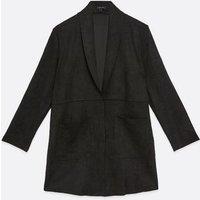 Black Suedette Duster Jacket New Look