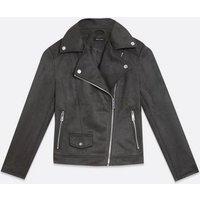 Dark Grey Suedette Biker Jacket New Look