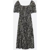 Urban Bliss Black Animal Print Shirred Midi Dress New Look