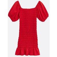 Red-Shirred-Bardot-Mini-Dress-New-Look
