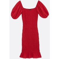 Red-Shirred-Puff-Sleeve-Midi-Dress-New-Look