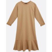Camel Ruffle Midi Sweatshirt Dress New Look