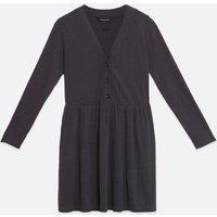 Dark Grey Fine Knit Button Smock Dress New Look