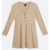 Camel Fine Knit Button Smock Dress New Look