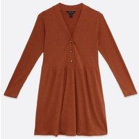 Rust Fine Knit Button Smock Dress New Look