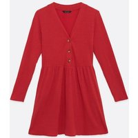 Red-Fine-Knit-Button-Smock-Dress-New-Look