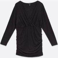 Curves Black Ruched Wrap Mini Dress New Look