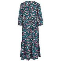 Black Floral Tiered Midi Smock Dress New Look